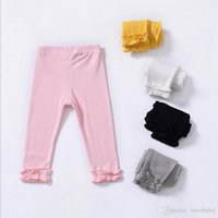 Wholesale girls fashion tights winter resale online - INS Children Leggings Baby Ruffle PP Pants Kids Girls Fashion Casual Tights100 Cotton Trousers Baby Clothing Colors YL198