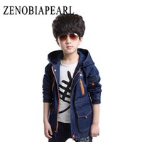 Wholesale child trench coat boy for sale - Group buy Boy Jackets Fashion Hooded Denim Coats New Kids Trench Coat For Boys Long Jackets Spring Autumn Children Clothing
