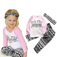 Wholesale Girls Letter Clothing Set Long Sleeve Little Miss AWESOME Print T shirt Tops Long Pants Headband Spring Autumn Kids Outfit