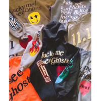 niños streetwear al por mayor-Streetwear Kanye West NIÑOS VER FANTASMAS Sudadera con capucha Hombre Mujer Graffiti Face 19S Kanye West NIÑOS VER FANTASMAS Sudaderas con cuello redondo