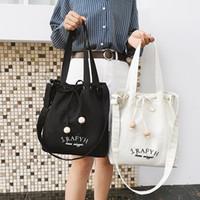 искусство южной кореи оптовых-Japan and South Korea simple handmade wooden  drawstring art canvas bag female shoulder portable shopping bag