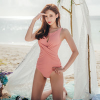 caliente sexy chicas rosa bikini al por mayor-Corea sexy rosa ahuecada sombra flaco adelgazamiento traje de baño chica pequeño pecho bikini vacaciones de primavera caliente traje de baño