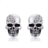 Wholesale rock punk earring for sale - Group buy Halloween Jewelry Punk Vintage Skull Rhinestone Crystal Earrings For Men Women Hip hop Stud Earrings Vintage Rock Skeleton Ear Party Gifts