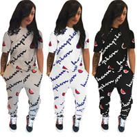 enge t-shirts frauen großhandel-Champion Marke Trainingsanzug Kurzarm Pocket Letter Print Zweiteilige Sets plus Größe Frauen Mädchen Outfits Tights Leggings Hose T-Shirt Anzug