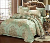 seidensteppdecke großhandel-Silk Fleck Jacquard Bettwäsche Set Luxus Bettwäsche-Sets Jacquard Bettbezug Set Hochzeit Bettwäsche Bettwäsche Bettbezug