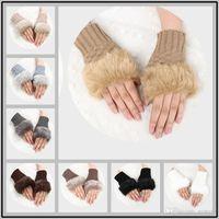 freie mädchen hand handschuhe großhandel-Freies Verschiffen 10 Farben Gestrickte Fingerlose Handschuhe Künstliche Kaninchenfell Handschuh Winter Halbfinger Handschuhe für Damen Frauen Mädchen
