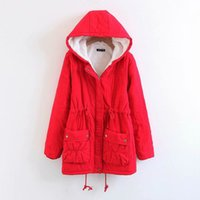 Wholesale plus sizes clothing korea resale online – Girl Cotton padded clothes winter overcoat plus size Trench coat for women Korea fashion lambswool hooded Warm cotton coats