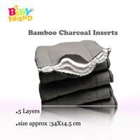 детские подгузники из ткани бамбуковый уголь оптовых-Babyfriend многоразовые детские подгузники бамбуковый уголь лайнер подгузник пеленки вставить для ребенка ткань пеленки пеленки моющиеся 5 слоев 9 шт.