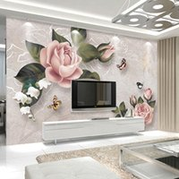 Wholesale flower wallpaper for bedroom tv background online - Custom Mural Wallpaper For Bedroom Walls European Style Retro Flower Butterfly TV Background Wall Papers Home Decor Living Room