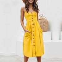 ingrosso vestiti casuali gialli più il formato-Bottone da donna Elegante abito da sera Polka Dots giallo in cotone Midi Abito estivo donna casual Plus Size Lady Beach Vestidos abiti firmati