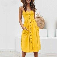 ingrosso vestiti casuali gialli più il formato-Vestito elegante da donna con bottoni Polka Dots Vestito longuette in cotone giallo Summer Casual Donna Plus Size Lady Beach Vestidos abiti firmati