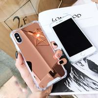 ingrosso caso di lusso del silicone-Custodia Cover per telefono di lusso placcatura specchio per i X 7 8 6 6S Custodia silicone per i 6 6S 8 7 Plus X 10 XR XS XS Max Custodia