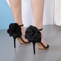 Vestido de novia negro flores color de rosa nupcial zapatos de diseñador de las mujeres bombas de la mujer Tradingbear los tacones altos de tirón