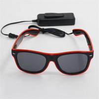 Wholesale orange eyeglasses resale online - LED Fluorescence Glasses Shine Spectacles Unisex Outdoor Riding Eyeglass Radiation Resistance Battery Free Pink Orange Durable ql C1
