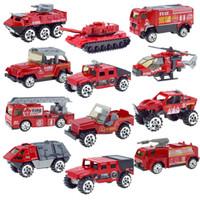 legierung spielzeug hubschrauber großhandel-12 Arten Red Fire Series Schiebe Alloy Panzer Gepanzertes Fahrzeug Hubschrauber Angriffsfahrzeug Jeep Auto Modell Spielzeug