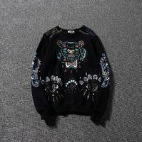 mens kaplan baskı kazak toptan satış-Kenzos hoodie erkek gelgit marka hoodies Kaplan kafası baskı kazak moda vahşi rahat kapüşonlu erkek kadın pamuk kazak sıcak satış kazak