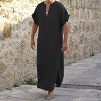 siyah abayalar toptan satış-S-5xl Artı Boyutu Erkekler 'S Müslüman Elbise Erkekler Dubai Abaya Siyah Robe Kısa Kollu Hattı Gevşek Rahat Tasarım Maxi Elbiseler Giysileri