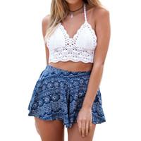 ingrosso magliette top boho-Sexy 2019 Women Beach Camis Boho Crochet Bralette Bra Crop Knitting Knit Backless Top Tank P2