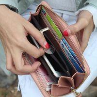 bant cüzdanlar toptan satış-Moda Kadınlar Uzun Cüzdan Deri Fermuarlı Düzensiz Splice Sikke Debriyaj Çanta Bayanlar Cüzdan Düz Renk Bilek Bandı Ile KA-BEST