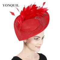 Wholesale Big derby fashion party headpiece women wedding fascinator hat with fancy feather millinery bridal show chuch cocktail millinery