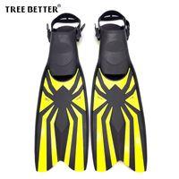 Wholesale yellow swim fins resale online - TREE BETTER Adult Snorkeling Diving Swimming Fins Open heel Professional Diver Swim Foot Flipper long Diving Fins Yellow S XL