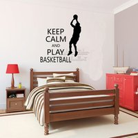 ingrosso basket adesivo rimovibile-Gioca a Basket Quote Wall Sticker Motivazionale Wall Quote Decal Removable Keep Calm Lettering Wall Vinyl Q300
