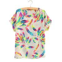 kuş baskısı bluzu toptan satış-Kadın Yaz Ayçiçeği Kuş Şifon Baskı Bluz Şerit Ekose Gömlek Çapraz Aşk Bluz Kısa Kollu Mavi Ruj Gömlek
