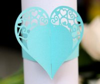 Wholesale flower napkin rings weddings resale online - Hollow Heart Flower Napkin Rings For Wedding Party Table Decoration Party Favors Party Supplies Wedding Favors