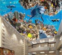 techo de pesca al por mayor-WDBH 3d mural del techo fondo de pantalla personalizado tapete fotográfico azul marino con delfines peces de coral salón decoración del hogar del papel pintado 3D para las paredes 3 d