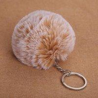 acessórios de pele falsificados venda por atacado-Chaveiro Fluffy Coelho falsificado Fur bola Pom Pom-chaves encantos bonito pompom presentes chaveiro para as Mulheres Car Bag Acessórios Chaveiro