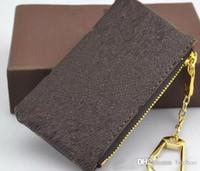 bolsa de carteira de anel venda por atacado-Hotsales Chave Feminina Carteira Bolsa Bolsa Chave Charme França Famoso Mono Grama Lona Brown Branco Quadriculado Anel Chave