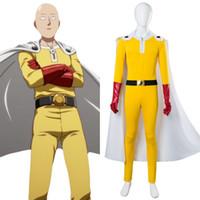 костюмы косплей полный комплект оптовых-One Punch Man Косплей Костюмы Saitama Косплей Jumosuits + Плащ + Пояс + Шляпа + Перчатки Полный набор для Хэллоуина