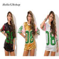trajes de vestido longo venda por atacado-Hello528shop Moda Rosa 08 Hip Hop Dança Lantejoula Mini Vestidos Desempenho Fancy Dress Costume Stage T-shirt Longo Mulheres Camisas