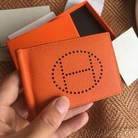 petits clips achat en gros de-Portefeuille pour cartes de crédit Mens Wallet Leather véritable portefeuilles de haute qualité avec porte-cartes pince à billets pour hommes petit sac à main Vallet With Box