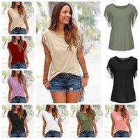 yuvarlak boyun yaka gömlek toptan satış-Avrupa Birleşik Devletleri moda katı renk yuvarlak boyun yaka püskül düğüm kısa kollu T-shirt, destek karışık toplu