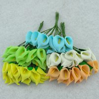 Wholesale silk lilies for sale - Group buy Simulated Calla Lily Single Leaf Mini Manual Manual Silk Flower Wedding Candy Box Foam Decorative Flowers hyE1