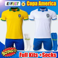 conjunto completo de camisolas de futebol venda por atacado-2019 Brazil Men Kit camisa de futebol de futebol copa america 2020 Adulto conjunto completo de crianças G.JESUS MARCELO FIRMINO VINICIUS camisa de futebol