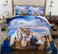 Wholesale 3d tiger bedding sets resale online - Lifelike Animals Bedding Set Twin Full Queen Size d for adult Bedclothes with beach tiger of soft Bedding Cover Suit