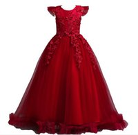 Wholesale floral bow shorts children for sale - Group buy 5 Years Kids Dress for Girls Wedding Tulle Lace Long Girl Dress Elegant Princess Party Pageant Formal Gown for Teen Children