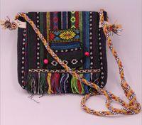 ethnisch gestickte handtaschen großhandel-50pcs gestickte Handtasche Ethnic Style Umhängetaschen Tribal Quasten Fransen Cross Body Bag