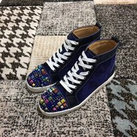 chaussures en daim pourpre pour hommes achat en gros de-Perfect-Purple Marque Couleurs Suede Goujons * Strass Hommes, Femmes Red Sneakers Bas Chaussures Haut Casual Top Wedding Party Zapatos Hombre