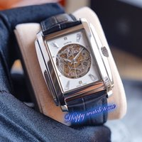 Wholesale best luxury skeleton watches resale online - Best Edition G Skeleton Dial Silver Steel Case ETA2824 Full Hollow Carved Mechanical Movement Mens Watch Leather Strap Sport Watches