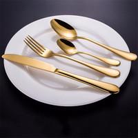 colher de comida de metal venda por atacado-Marca 100% Vendidos aço inoxidável Western Golden Food Louça Talheres garfo faca colher Louça Faqueiro