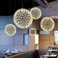 sarkıt hafif bar toptan satış-Bar / Restaurant Lamparas Luster için Modern Rainmond Havai fişek Kolye Işıklar Bar Işık LED Paslanmaz çelik bilyalı Sarkıt