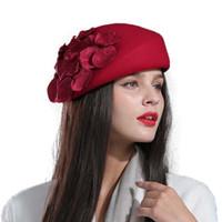 chapéu francês do beanie da boina venda por atacado-100% boina de lã boinas de inverno mulheres inverno sentiu boina Floral Mulheres Sentiu Francês Beanie fedora chapéu Beanie Flor M77