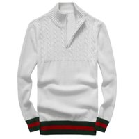 ingrosso maglione a maglia del manicotto del ricamo-alta qualità 2019 uomini Leisure maglioni di lusso ricamo maglione a maniche lunghe Pullover maglione maglieria Cardigan tinta unita camicia