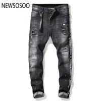 jeans com marca de zíper venda por atacado-Estilo americano europeu famosa marca mens jeans luxo homens retas calças jeans zipper Patchwork Slim jeans preto para homens