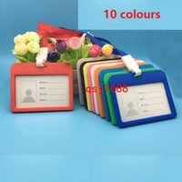 ingrosso cordini per le scuole-10 colori ID Badge Holder PU ID Card Accessori Supporto Carta di credito Bus Card Case Materiale scolastico di cancelleria con cordino Papelaria