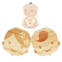 boxen für baby geschenke großhandel-Spanisch Englisch Zahn Box für Baby Speichern Milch Zähne Jungen / Mädchen Bild Holz Aufbewahrungsboxen Kreatives Geschenk für Kinder Travel Kit 2 Arten C1892