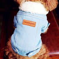 ropa para perros denim al por mayor-Cachorro de lujo de la chaqueta del invierno del perro ropa para perros Trajes para mascotas perro Denim Jeans Escudo de vestuario Chihuahua caniche Bichon Ropa para mascotas